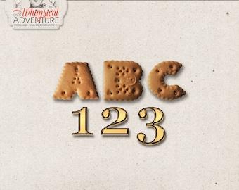 Cookie alfabet, gouden getallen, Instant Download, digitale Scrapbooking elementen, Zwarte Piet, Sinterklaas, Nederlandse vakantie, December dagen