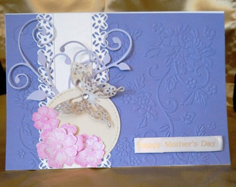 Purple Mother's Day Card featuring a butterfly and flowers.