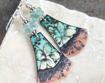 Floral Enameled Copper Earrings with Carved Rainbow Flourite,  Sterling Silver, Boho, Spring, Summer, Handcrafted, Unique, Gift for Mom