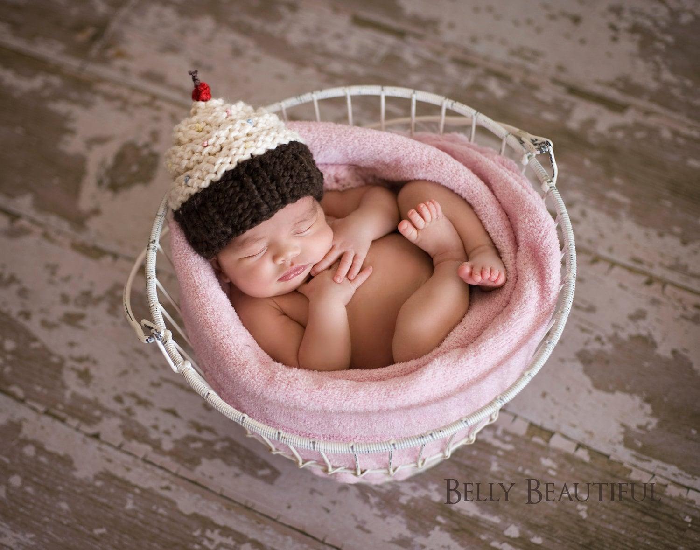 Cupcake Hat Knitting Pattern - Knit Baby Cupcake Hat - Newborn Photo ...