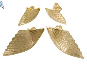 Gold Angel Wing Stud Earrings, Small Wing Stud Earrings, Large Wing Stud Earrings, Wing Earrings, Angel Wings, Everyday Wear, Wings, GFER53