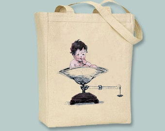 Vintage New Baby On Scale illustration Canvas Tote -- Selection of sizes available