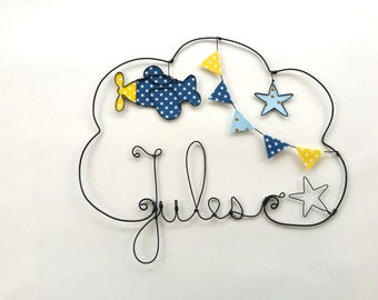 "Name personalized wire ""Plane take off"" wall decor for child's room"