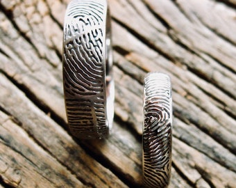 Palladium Finger Print Wedding Rings with Glossy and Matte Finish Size 10 & 5
