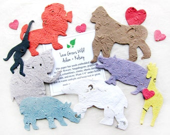 10 Plantable Zoo Animal Baby Shower Favors - Flower Seed Paper Lions Monkeys Hippos Gorillas Giraffes and More - Jungle Baby Shower Favor