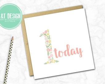 Girls First Birthday Card