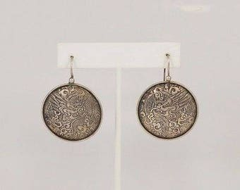 Sterling Silver 925 Vintage Engraved Chinese Dragon Earrings