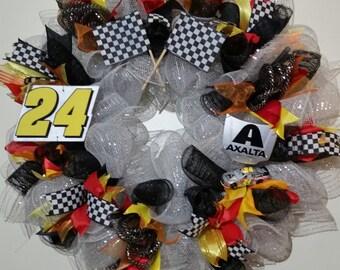 NASCAR wreath, Jeff Gordon, #24 wreath, Axalta, Homestead, Jeff Gordon wreath, racing wreath, checker flag, checkered flag, NASCAR diecast
