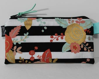 Cash Envelope System Budget Wallet with Tabbed Dividers Dave Ramsey System Coupon Organizer Wallet Coin Pouch Black and White Stripe Floral