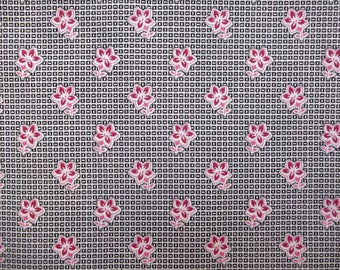 Grey and pink flowers printed cotton canvas fabric
