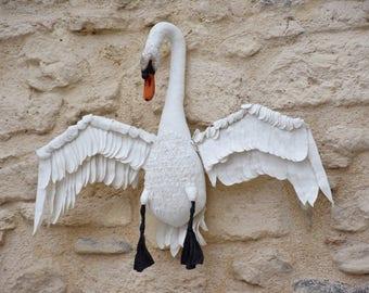 Swan Soft Sculpture textile Art Contemporary Art object textile wall hanging decorative