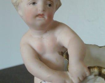 Vintage German Bisque Infant Figurine with Sack Cute!
