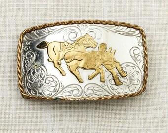 Bull Rider Belt Buckle Shiny Silver Gold Filigree Horse Rodeo Nickel Vintage Belt Buckle 7G