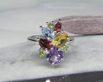 Ring 925 sterling silver and gemstones, Amethyst, Garnet, Peridot, Topaz, CitrineTaille 60