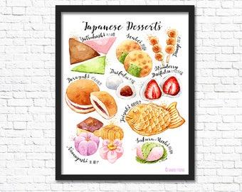 Japanese Desserts/ Art Print / Wall Art/ Food Art