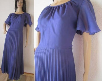 Vintage 70s Maxi dress evening dress dress gown pleated dress M