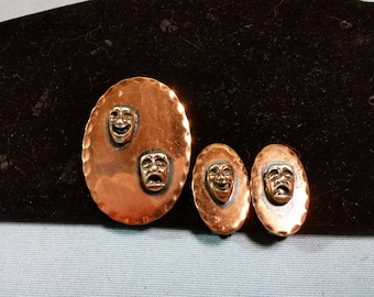 Vintage Copper Comedy and Tragedy Brooch and Earrings Set