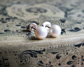 fresh water pearl stud earrings sterling silver,  pearl jewelry, bridesmaid gift, wedding jewellery uk,  choice of colours
