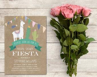 Fiesta Bridal Shower Invitation, Llama Bridal Shower Invitation, Cactus Invitation, Llama Invitation, Baby Shower, Printable No. 1300