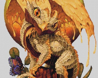 Peanut Butter Dragon  - emailed PDF cross-stitch chart / pattern, original art © Stanley Morrison  licenced by Paine Free Crafts