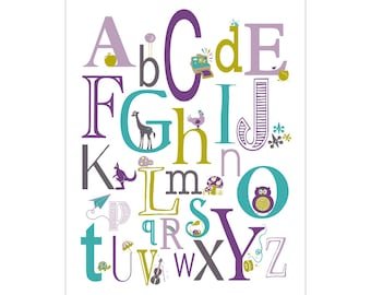 Children's Wall Art / Nursery Decor Alphabet Poster - ABC alphabet typography Poster Print