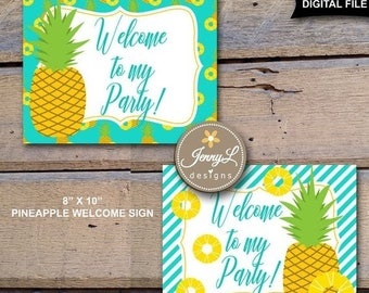 50% OFF Pineapple Welcome Signs for Pineapple birthday party, Luau Party, Aloha, Summer INSTANT DOWNLOAD, personal use