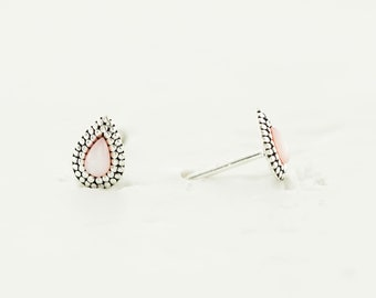 Stone Teardrop Post, Pink Shell Earring, Stone Post Earrings, Pink Teardrop Post