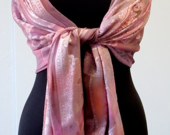 Orchid Pink Jacquard Hand-dyed Silk Shawl for Breast Cancer Awareness