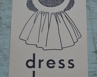 Vintage Flash Card Picture 1950s Scrapbooking - Dress