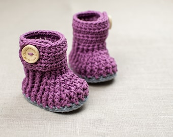 CROCHET PATTERN - Crochet Baby Booties Violet Drops - Baby Shoes - PDF
