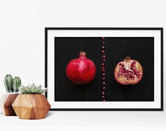 pomegranate v. two // food photography print // kitchen decor // dining room // minimalist art print // rustic farmhouse wall art