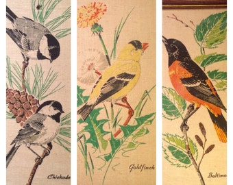 KayDee handprints 100% pure linen screen print Chickadee, Oriole, Goldfinch. 1950s. Free ship
