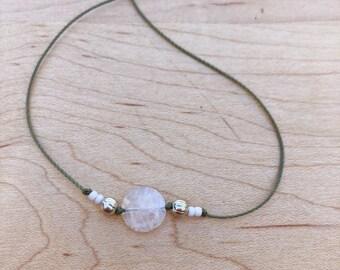 Simple rainbow moonstone beaded necklace