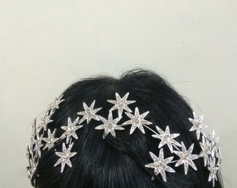 Romantic stars headpiece, wedding bridal headband, weddjng tiara, stars headband, Swarovski rhinestone crystals tiara, bridal jewelry, prom