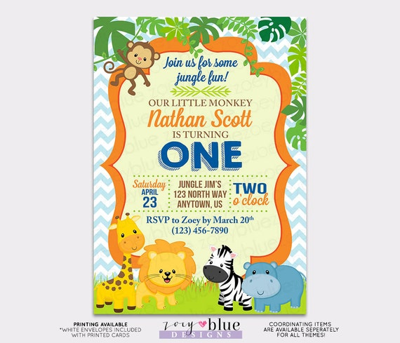 Jungle birthday invitation boy first birthday one monkey like this item filmwisefo Image collections