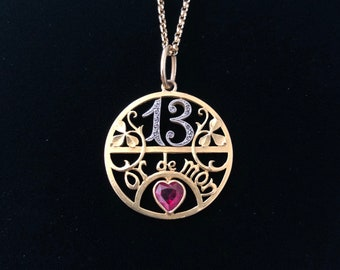 RARE antique french lucky number 13 love token pendant