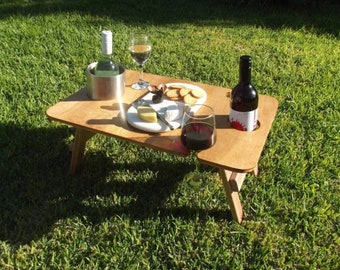 Folding Picnic Table|Foldable Wine Table |Portable Wine Table|Wine Picnic Table|Picnic Wine Table| Petite Natural
