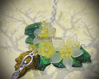 Summer Flowers Goddess Necklace - Yellow - Pagan Jewellery, Wicca, Solstice