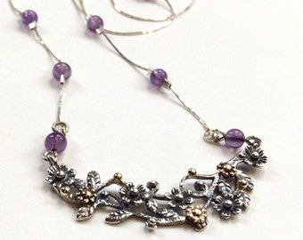 Bohemian amethyst necklace, boho chic amethyst jewelry, Silver gold necklace, flower pendant, nature necklace - Boundless love N2010-1