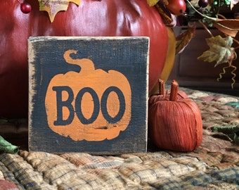 Halloween Boo - handmade rustic block sign