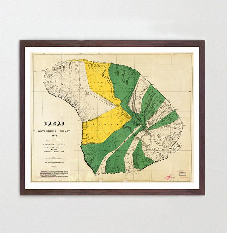 Hawaii Map - Lanai Map Art - Map Decor - Hawaiian Island Map ...
