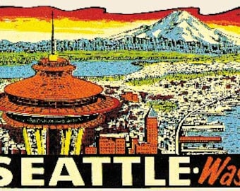 Vintage Style Seattle Washington Space Needle Travel Decal sticker