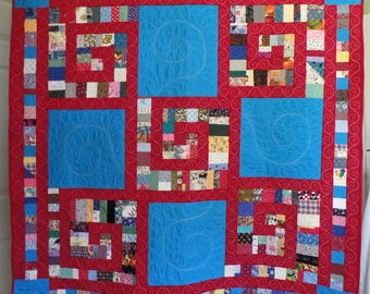 Modern Quilt, Patchwork Quilt, Contemporary Quilt, Blue and Red Quilt, Throw Quilt, Graduation or Birthday Gift, FREE SHIPPING!