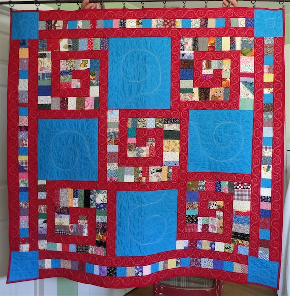 Modern Quilt Patchwork Quilt String Quilt Blue And Red