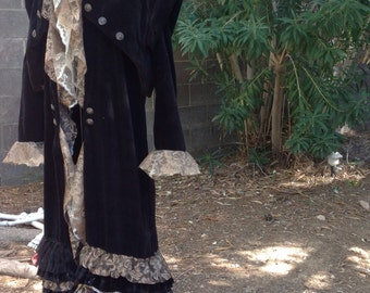 showdiva designs READY to SHIP Black Velvet Velveteen Coat with Vest Rows of Ruffles Pirate Chic Military Buttons