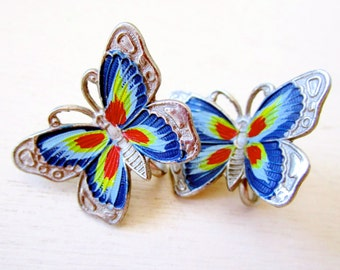 Beautiful Butterfly Vintage Earrings - Silver - Painted - Colorful - Jewelry - catROCKS - Screw Back - Change Clip On - Fauna - Spring -