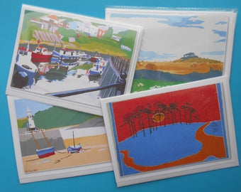 4 Greetings Cards of English Views