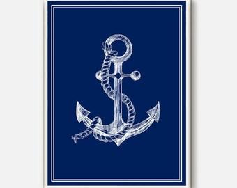 Anchor print, Poster nautical blueAnchor decor, Anchor art, Anchor, Nautical art, Nautical print, Nautical decor, Art Anchor printable