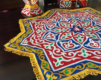 Ramadan-Eid tablecloth-Khaymah, Handmade Traditional Egyptian Tablecloth, Red