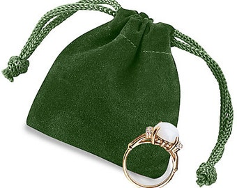 "39 2 x 2 1⁄2"" Green Velvet draw string Pouches bags"